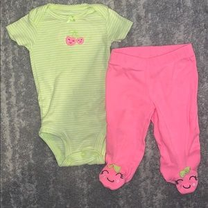 Carters 🍒 cherry neon outfit onesie and footie